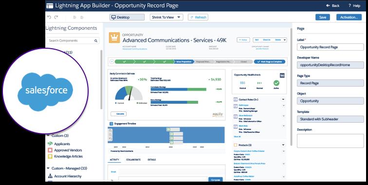 Aperçu de l'interface Salesforce CRM